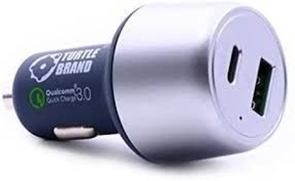 تصویر شارژر فندکی  ترتل برند با 2 خروجی- کابل Type C