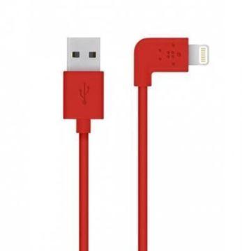 تصویر کابل لایتنینگ به یو اس بی A بلکین-زاویه 90 درجه-1 متر- قرمز Belkin Boost Charge Lightning to USB-A Cable 4ft - Red