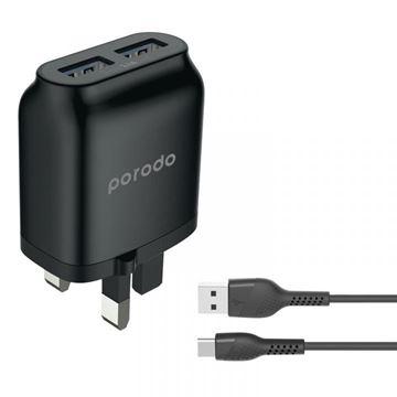 تصویر فست شارژر دیواری Type C پرودو با کابل 1.2 متر- Porodo Dual USB Wall Charger 2.4A with Improved Version PVC Type-C Cable 1.2m - Black