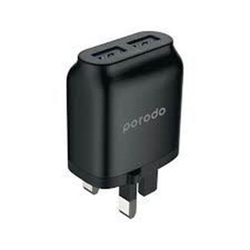تصویر فست شارژر دیواری پرودو- Porodo Dual USB Wall Charger 2.4A - Black