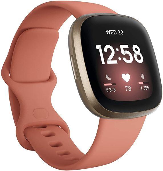 تصویر ساعت هوشمند فیت بیت ورسا 3 صورتی/طلایی- Fitbit Versa 3 Fitness Wristband with Heart Rate Tracker - Pink Clay/Soft Gold Aluminum